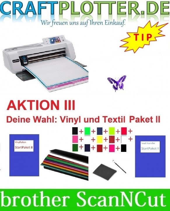 Brother CM300 Scan-N-Cut Aktion 3 Vinyl+Textil