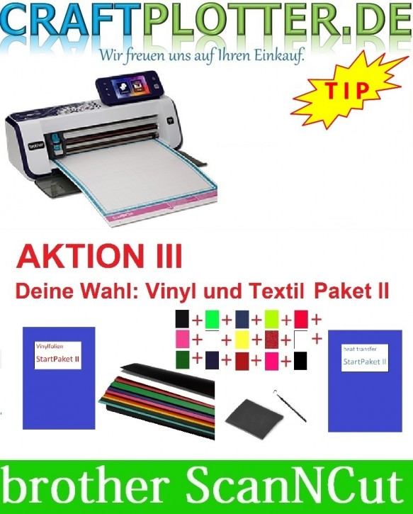 Brother CM900 Scan-N-Cut Aktion 3 Vinyl+Textil