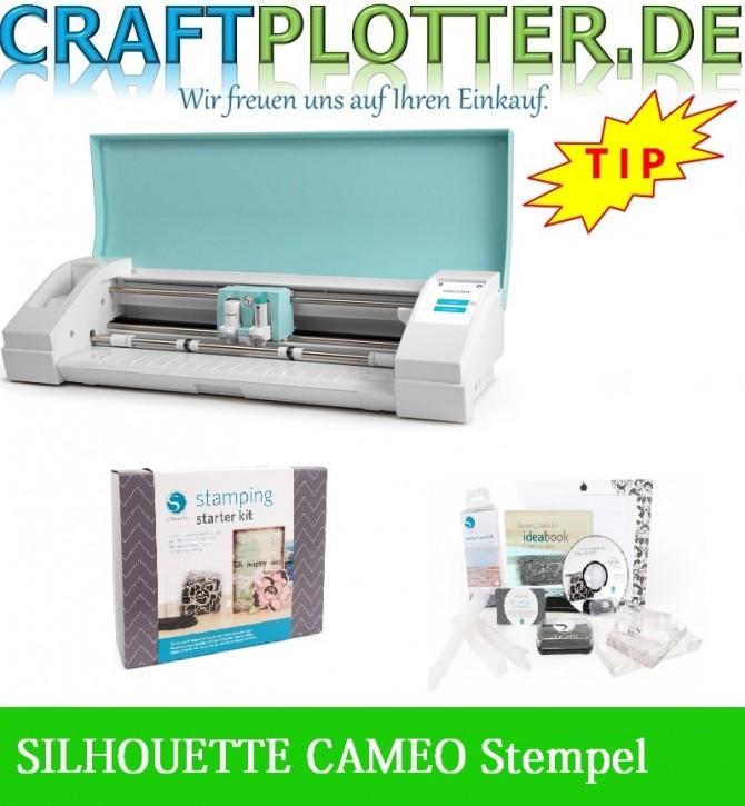 SILHOUETTE CAMEO TEAL AKTION 3 plus SIL Stempel Starter Kit