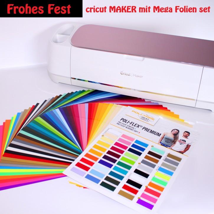 Cricut Maker Rosé plus Textil Flexfolien-Set