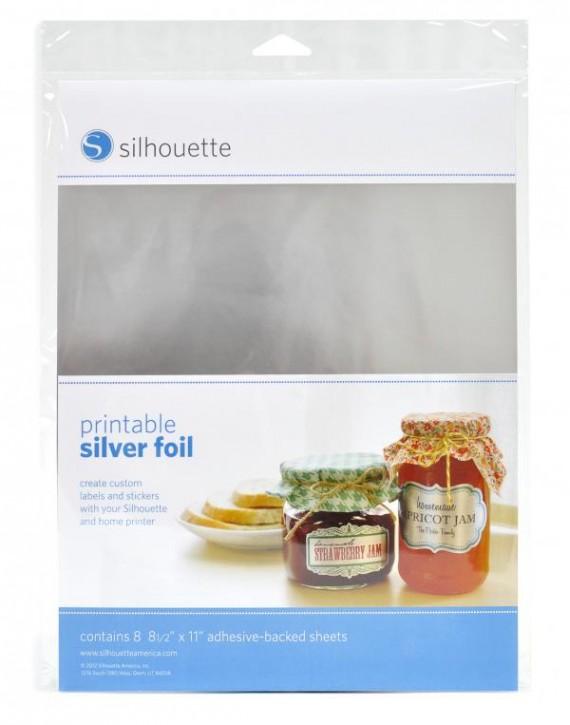 Silber Sticker Folie bedruckbar 8er Pack