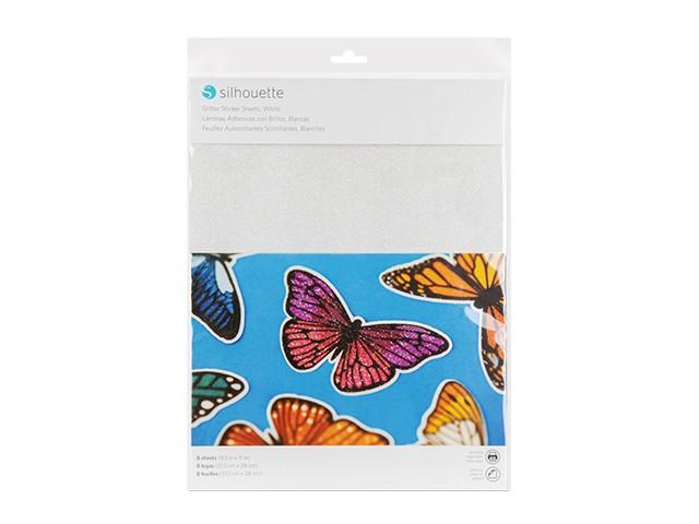 Silhouette bedruckbares Sticker Papier - Glitzer Weiss