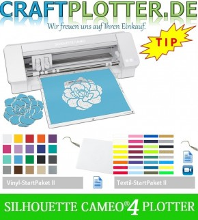SILHOUETTE CAMEO® 4 AKTION 3 plus Vinyl und Textil StartPaket II